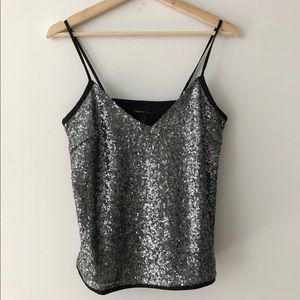 Mango silver sequin cami top size XS/S